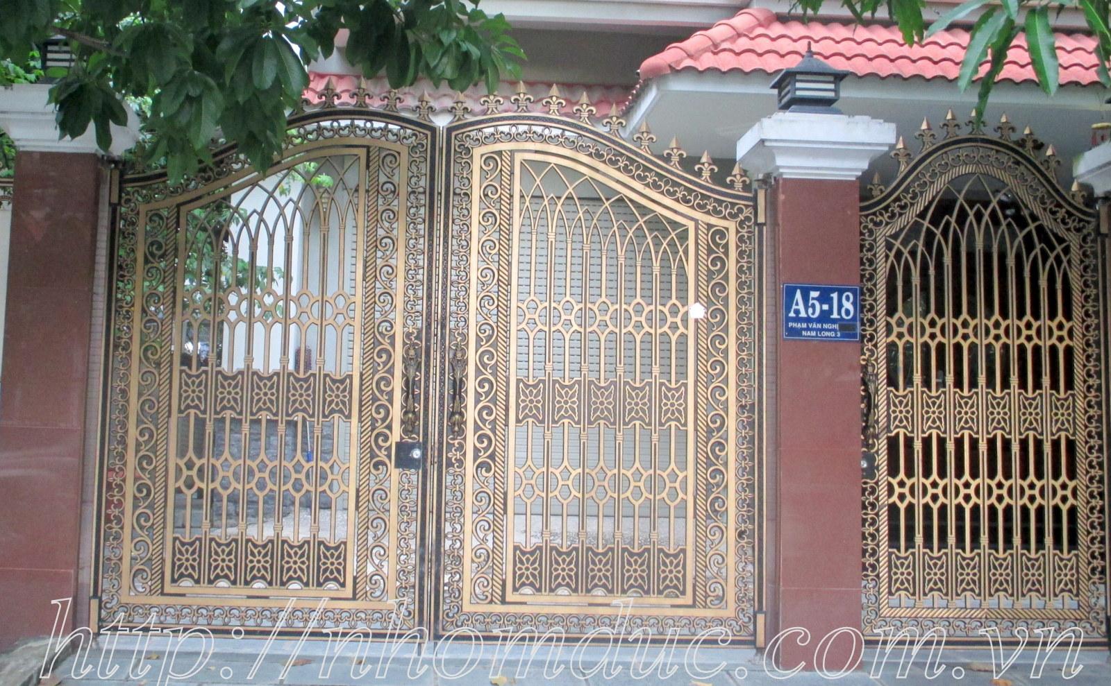 Các mẫu cổng hợp kim nhôm đúc Hà Nội đẹp nhất, hoa văn tinh tế, đa dạng