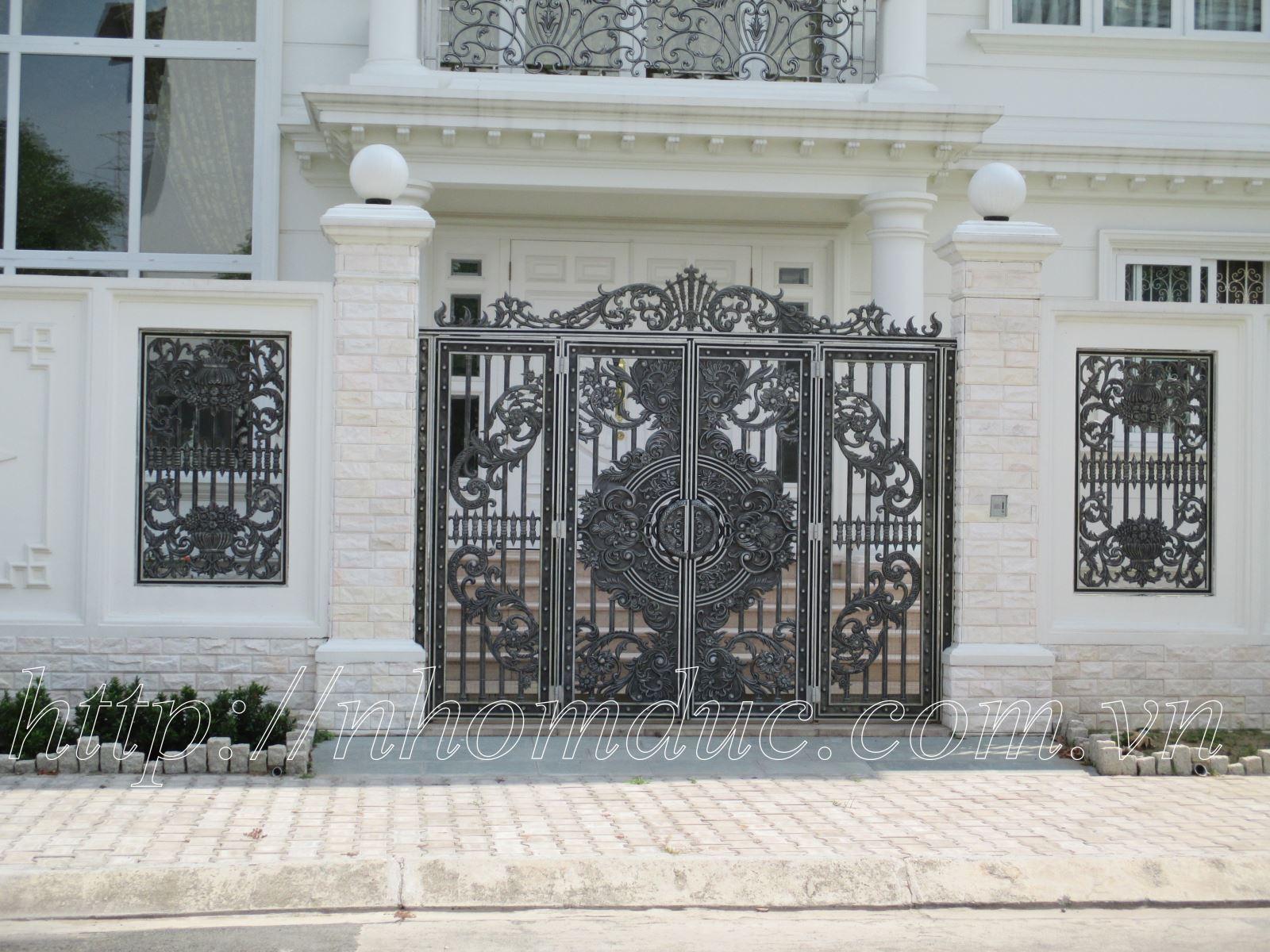 Cổng nhôm đúc đẹp, cửa nhôm đúc đẹp, các sản phẩm nhôm đúc đẹp khác như hàng rào, lan can, ban công, cầu thang, thông gió nhôm đúc