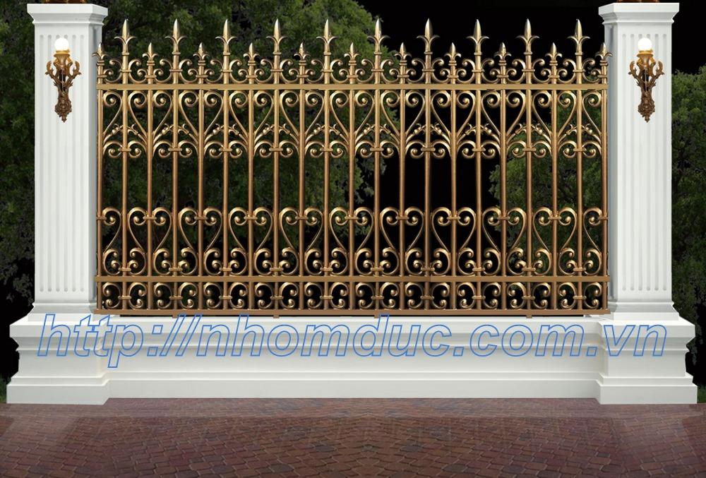 thi công hàng rào nhôm đúc, cổng hàng rào biệt thự hợp kim nhôm đúc.
