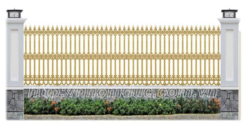 Hàng rào được đúc bằng hợp kim nhôm, có độ bền vĩnh cửu, kiểu giáng